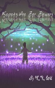 boy standing in the garden of purple flowers