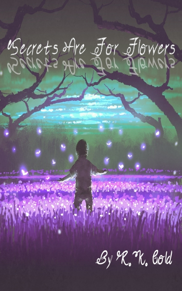 boy standing in the garden of purple flowers